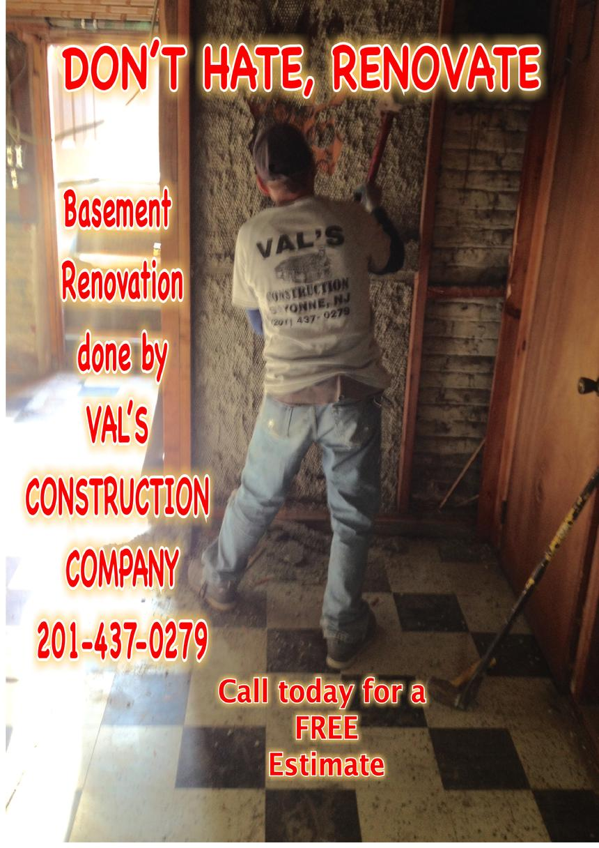 BASEMENT RENOVATION DONE BY VAL'S CONSTRUCTION COMPANY