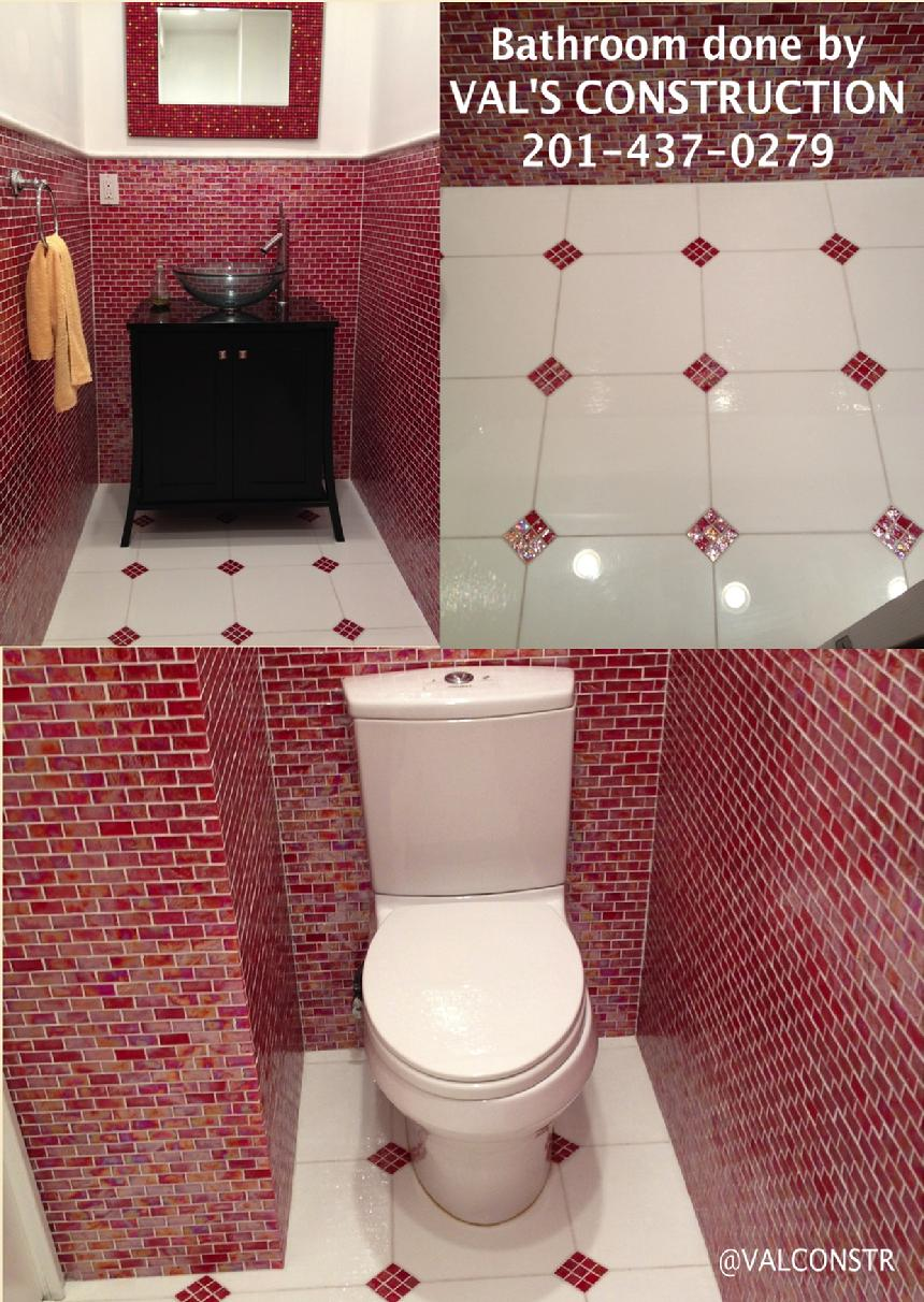 CUSTOM GLASS TILE POWDER ROOM DONE BY VAL'S CONSTRUCTION COMPANY